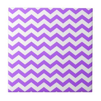 Purple and White Zigzags Ceramic Tile