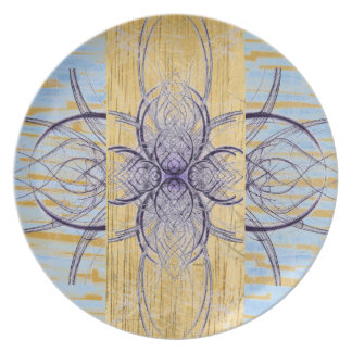 Purple and Wood Abstract 2 by Alexandra Cook Dinner Plate