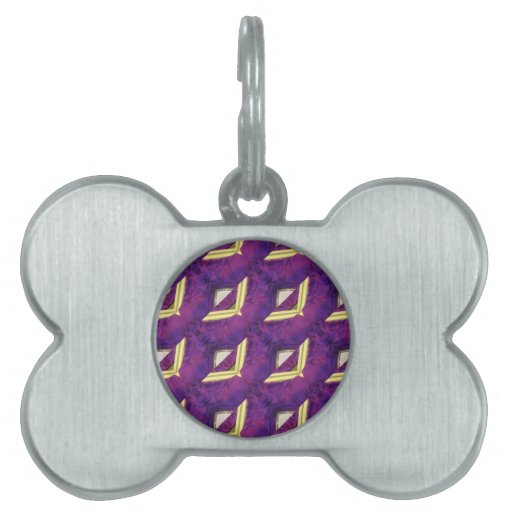 Purple And Yellow Abstract Designed Products Pet Name Tag