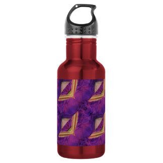 Purple And Yellow Abstract Designed Water Bottle