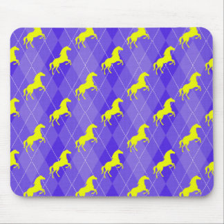 Purple and Yellow Argyle, Horse, Equestrian Mouse Pad