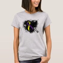 Purple and Yellow Awareness Ribbon Grunge Heart T-Shirt