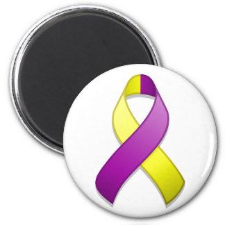Purple and Yellow Awareness Ribbon Magnet