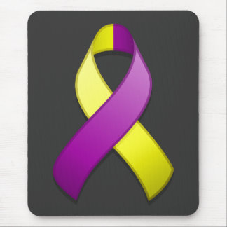 Purple and Yellow Awareness Ribbon Mousepad