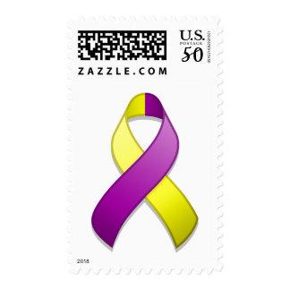Purple and Yellow Awareness Ribbon Postage