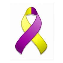 Purple and Yellow Awareness Ribbon Postcard
