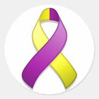 Purple and Yellow Awareness Ribbon Round Sticker