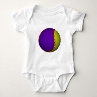Purple and Yellow Baseball Baby Bodysuit