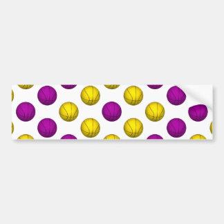 Purple and Yellow Basketball Pattern Bumper Sticker