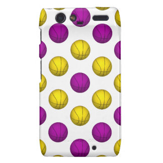 Purple and Yellow Basketball Pattern Droid RAZR Cover