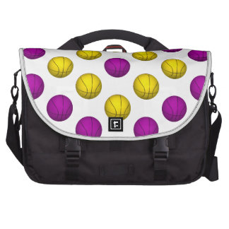 Purple and Yellow Basketball Pattern Bag For Laptop