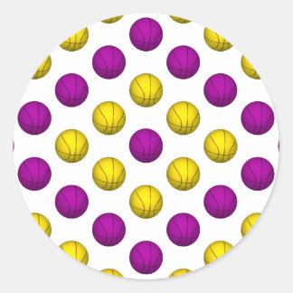 Purple and Yellow Basketball Pattern Round Sticker