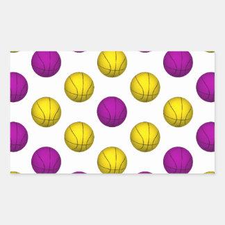 Purple and Yellow Basketball Pattern Rectangle Sticker