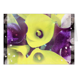 Purple and Yellow Calla Lilies Blank Greeting Card