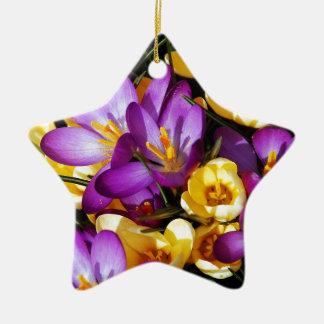 Purple and yellow crocus flowers ceramic ornament