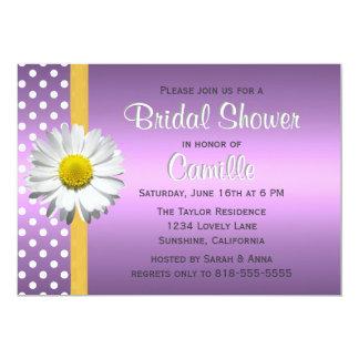 "Purple and Yellow Daisy Bridal Shower Invitation 5"" X 7"" Invitation Card"