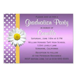 Purple and Yellow Daisy Graduation Party Card