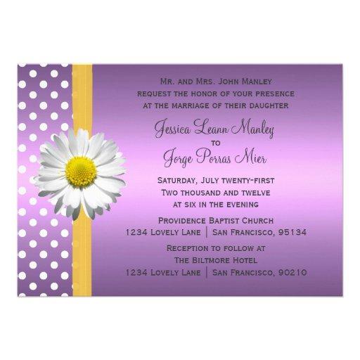 Purple And Yellow Daisy Wedding Invitation 5 X 7 Invitation Card