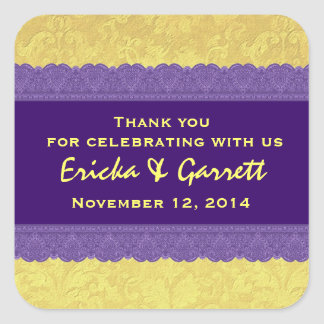 Purple and Yellow Damask Thank You Wedding R322 Square Sticker