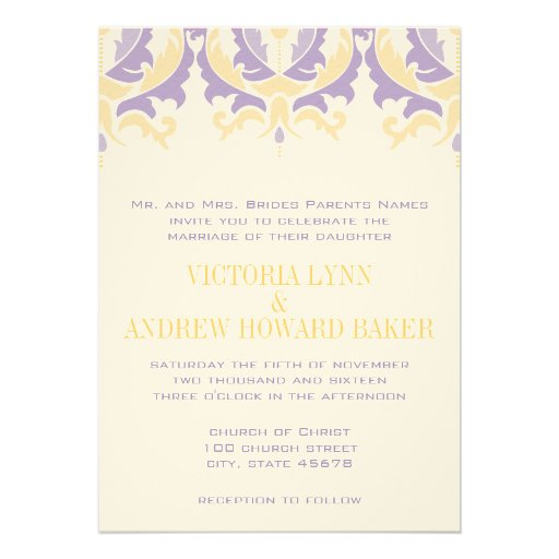 Purple And Yellow Damask Wedding Invitation 5 X 7 Invitation Card
