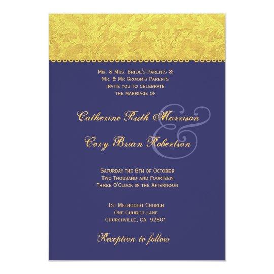 Purple And Yellow Damask Wedding Invitation R436