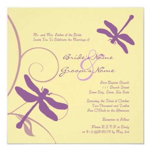 Purple And Yellow Dragonfly Wedding Invitation