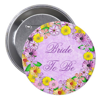 "Purple and Yellow Floral ""Bride to be"" Button"