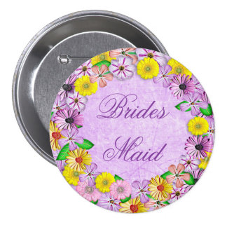 Purple and Yellow Floral Bridesmaid Button