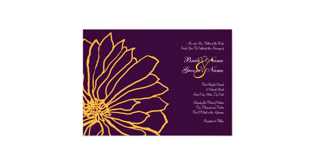 Purple And Yellow Floral Wedding Invitation
