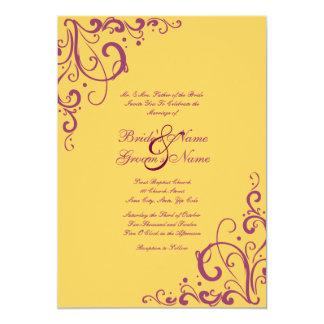 Purple and Yellow Flourish Wedding Invitation