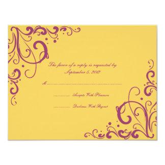 Purple and Yellow Flourish Wedding RSVP Card