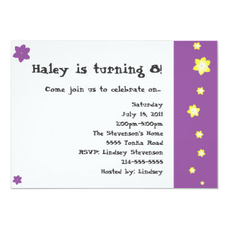 Purple and Yellow Flower Birthday Invitations