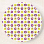 Purple and yellow flowers coaster