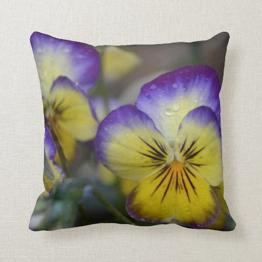 Purple and Yellow Flowers Throw Pillow Zazzle