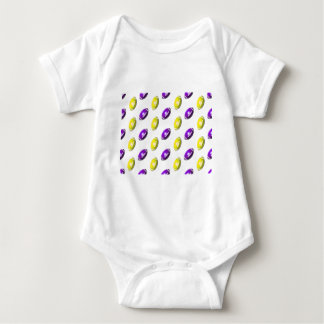 Purple and Yellow Football Pattern Baby Bodysuit
