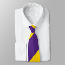 Purple and Yellow-Gold Broad Regimental Stripe Neck Tie