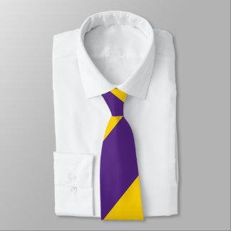 Purple and Yellow-Gold Broad Regimental Stripe Neck Tie