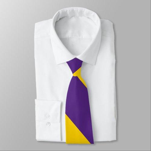 Purple and Yellow-Gold Broad University Stripe Tie