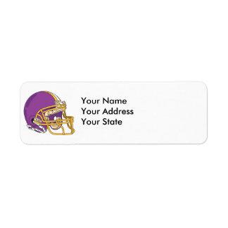 purple and yellow gold football helmet vector desi label