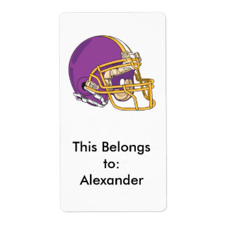 purple and yellow gold football helmet vector desi label
