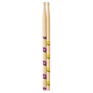 Purple and Yellow Gold Football Pattern Drumsticks