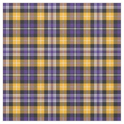 Purple And Yellow Gold Sporty Plaid Fabric Zazzle Com