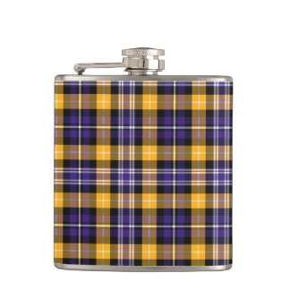 Purple and Yellow Gold Sporty Plaid Flask