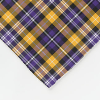 Purple and Yellow Gold Sporty Plaid Fleece Blanket