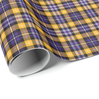 Purple and Yellow Gold Sporty Plaid Gift Wrap