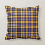 Purple and Yellow Gold Sporty Plaid Throw Pillow