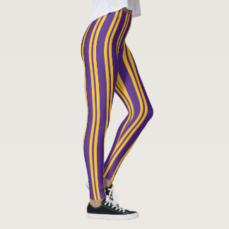 Purple and Yellow Gold Vertical Stripes Leggings