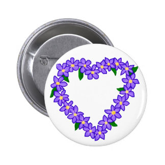 Purple and yellow heart wreath button