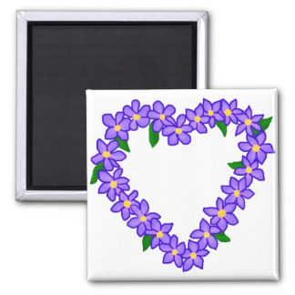 Purple and yellow heart wreath magnet
