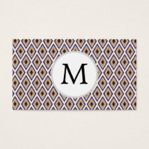 Purple and yellow Ikat personalized monogram Business Card